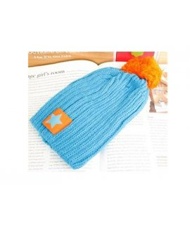 Beanie - Baby / Kids - Blue With Orange Pom Pom