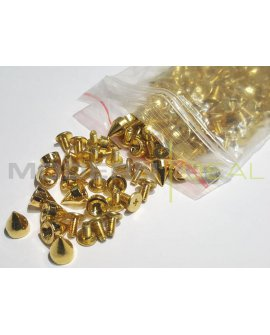 DIY Gold Spikes - 9.5mm 100pcs