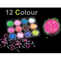 12 Pack Colour Glitter Dust for Decorating Nails