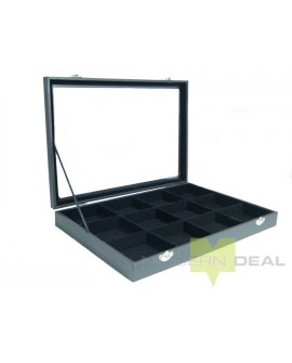 Jewellery Display Box - Black w/squares
