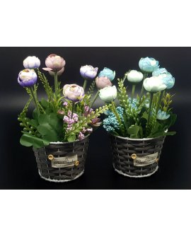 Artificial Potted Flowers - PURPLE & BLUE