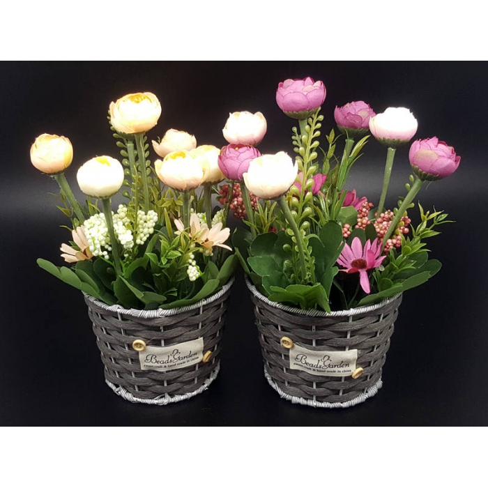Artificial Potted Flowers - PEACH & PINK