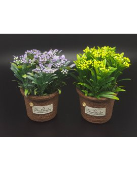 Artificial Potted Plant - PURPLE & YELLOW