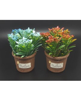 Artificial Potted Plant - BLUE & RED