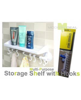 Bathroom Shelf With Hooks - Suction