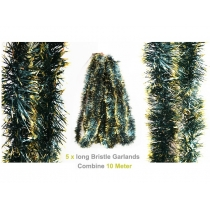 Tinsel -10m Green with Gold Tip