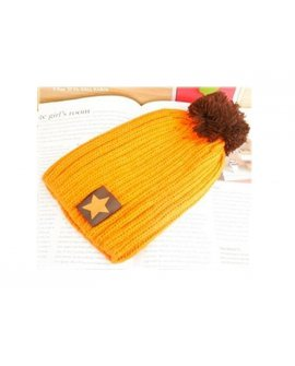 Unisex Knit Crochet Beanie Hat - Star Orange
