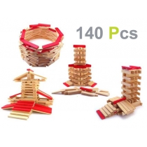 Wooden Building Block Brick Set - 140 Piece