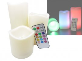 3pc Flameless Colour LED Candles - Remote Control