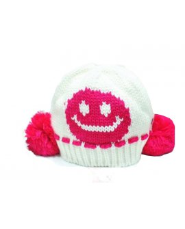 Baby Kid Smile Face Knit Crochet Beanie Hat -White
