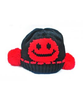 Baby Kid Smile Face Knit Crochet Beanie Hat -Black