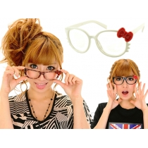 Kitty Bow Whiskers Glasses - White