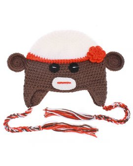 Knit Beanie - Monkey w/ Hat
