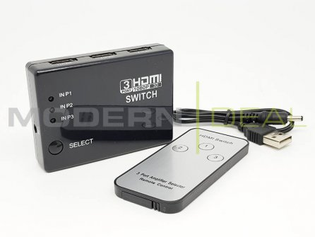 HDMI Switch 3 Ports Full HD 1080p + Remote